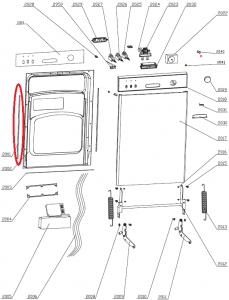 Těsnění strany dveří myček nádobí Gorenje Mora - 152947