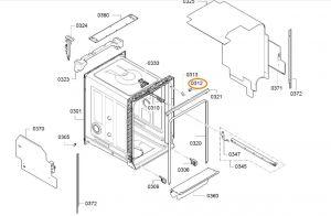 Držák myčka BSH - 10015604
