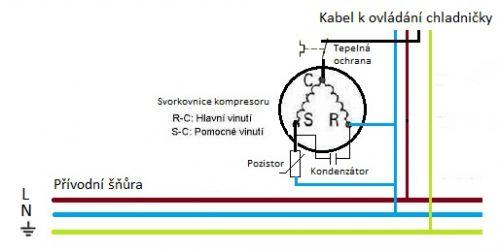 Zapojení kompresoru chladničky