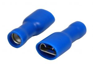 Faston zdířka, 6,3 mm, modrá, plně izolovaná