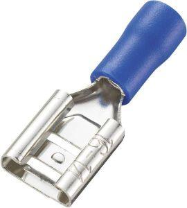 Faston zdířka, 6,3 mm, modrá