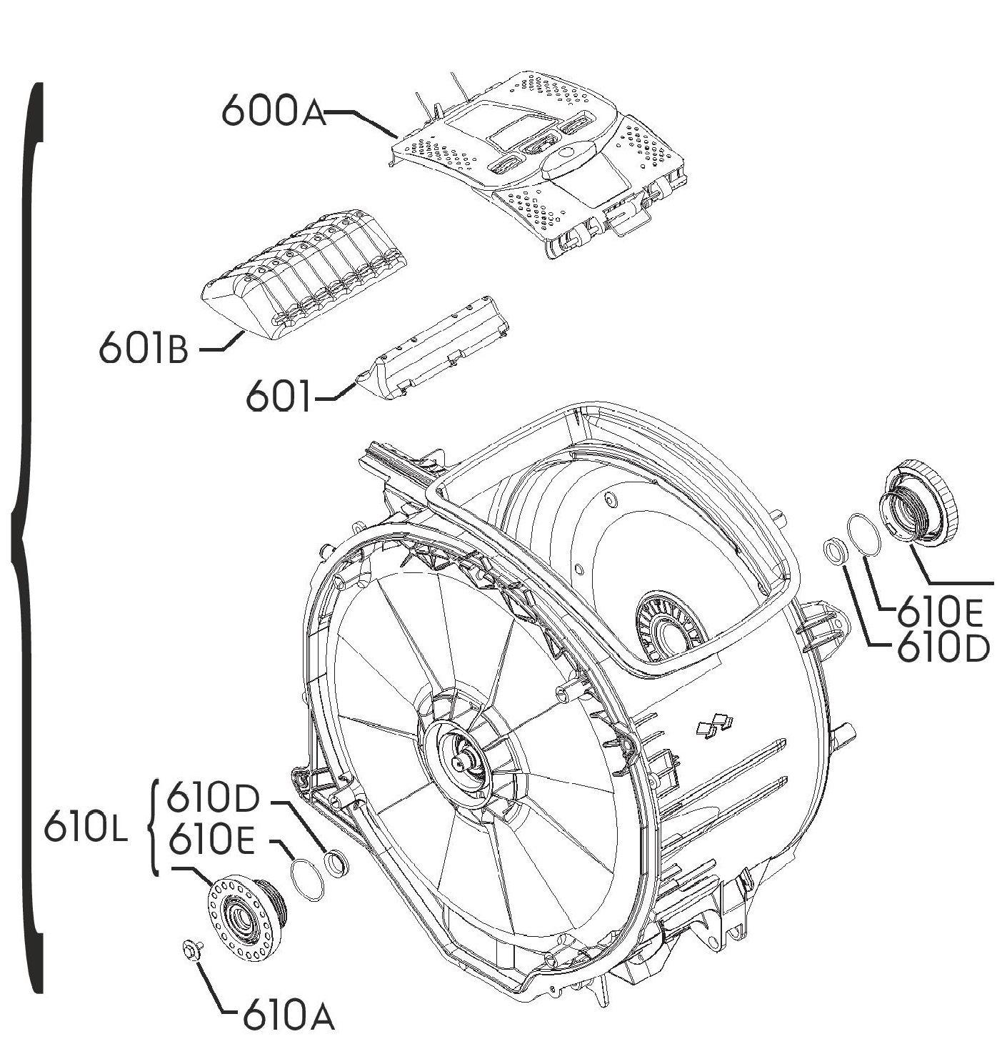 nádrž, vana, agregát kompletní pro pračky Zanussi, Electrolux, AEG - 4055198024 AEG / Electrolux / Zanussi
